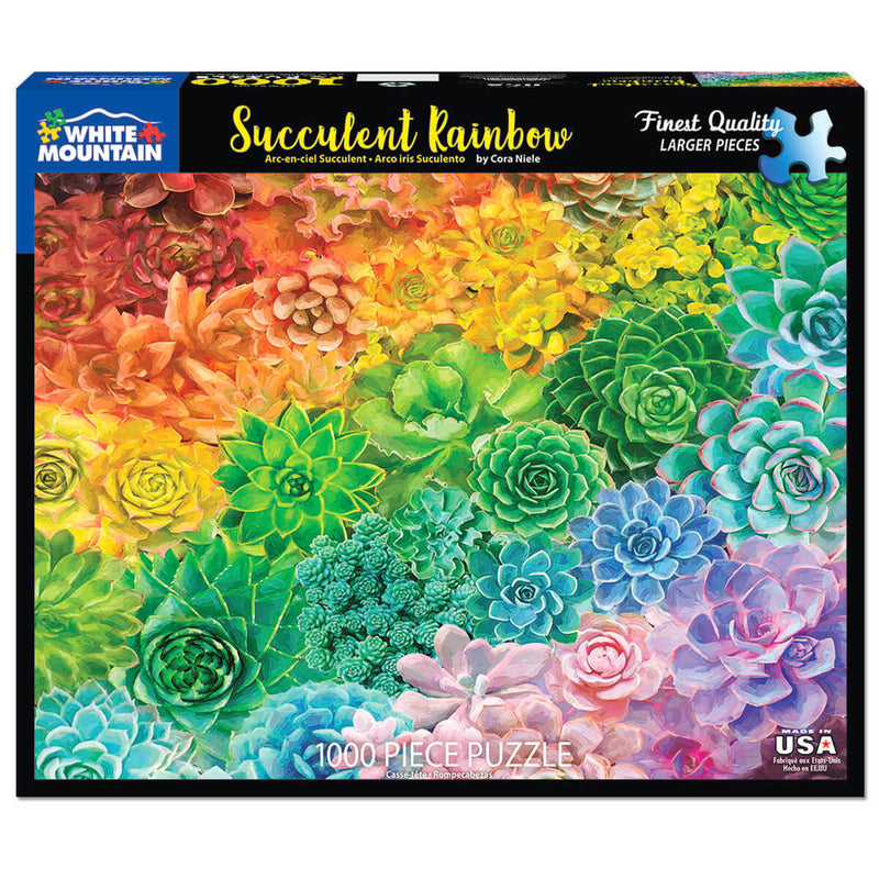 White Mountain Puzzles Succulent Rainbow 1000 Piece Jigsaw Puzzle