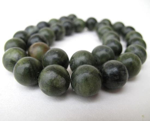 Serpentine 12 mm round beads - 15 inch strand