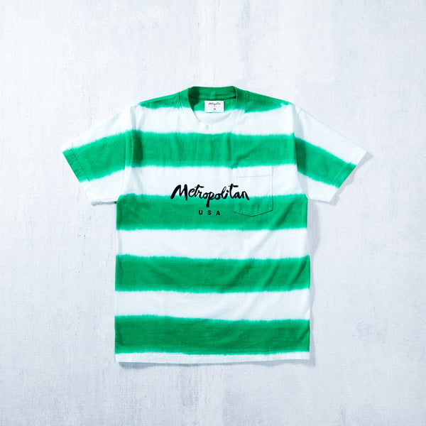 Classic Logo Striped Pocket Tee White/Green