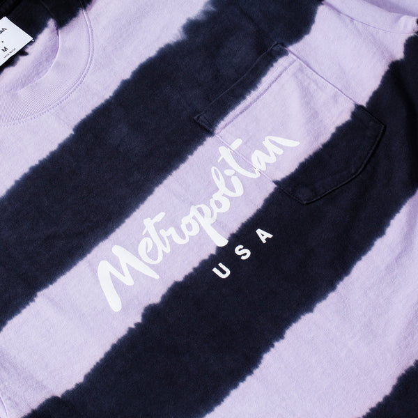 Classic Logo Striped Pocket Tee Black/Purple