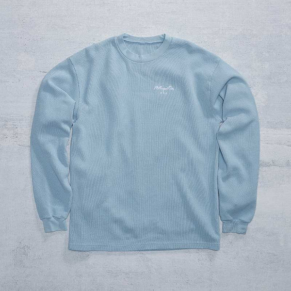 Embroidered Waffle Thermal / Light Blue
