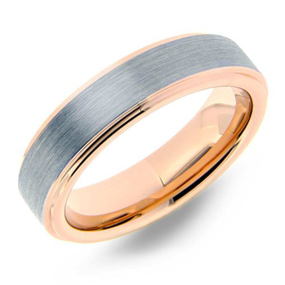 Rose Gold Brushed Tungsten Wedding Rings  (6mm Width, Flat style)