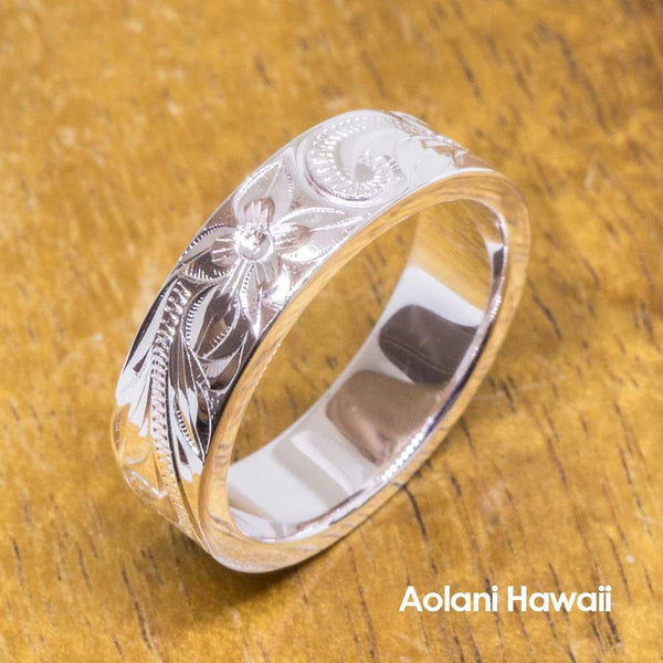 Heavy Hawaiian Jewelry Ring - Hand Engraved Sterling Silver Flat Ring (6mm width, Flat style)