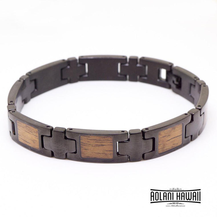 Ion Plated Black Stainless Steel Bracelet with Hawaiian Koa Wood Inlay