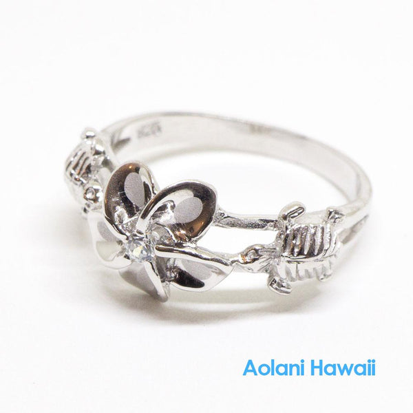 Silver Plumeria Flower & Honu Turtle Ring with CZ Stone