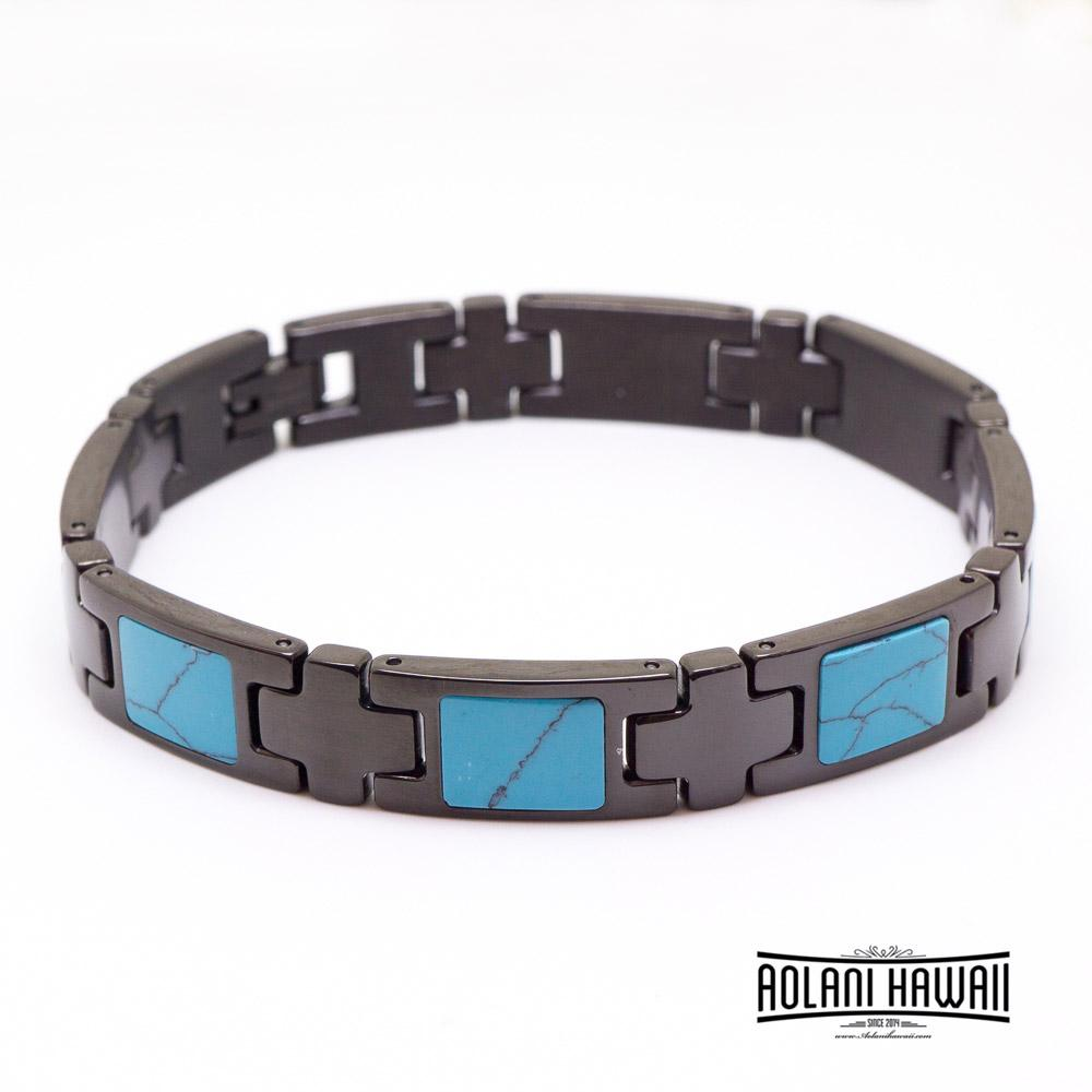Turquoise Inlay Ion Plated Black Stainless Steel Bracelet
