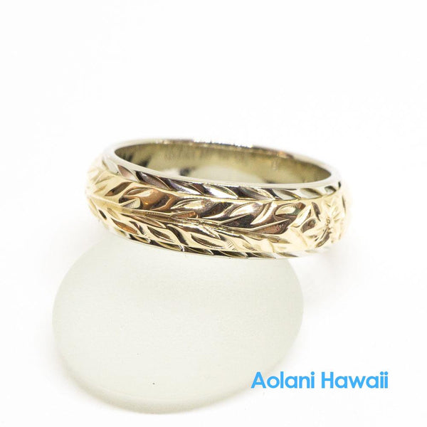 Traditional Hawaiian Hand Engraved 14k Two Tone Gold Ring 6mm x 4mm (Barrel style)