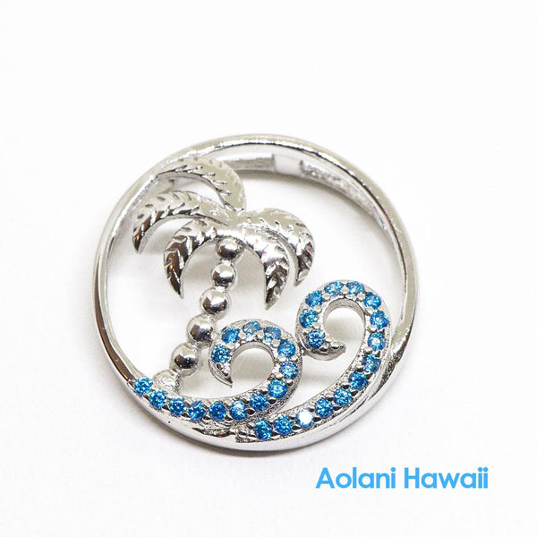 Palm Tree Ocean Wave Sterling Silver Pendant