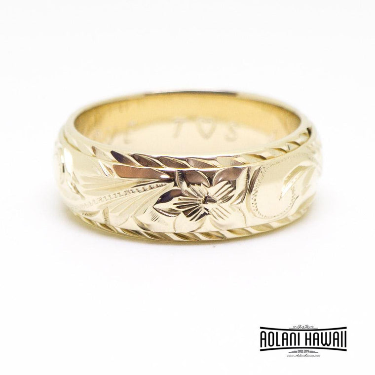 14K Gold Hawaiian Traditional Two Tone Ring ( 6mm x 8mm Width)