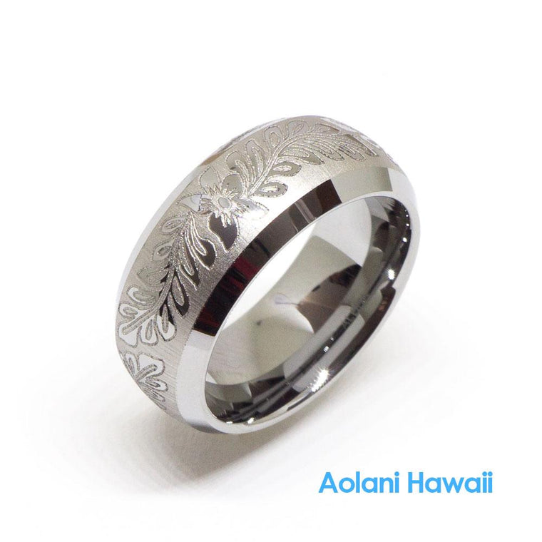 Flower Scroll Satin Finish Tungsten Ring 8mm