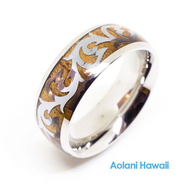 Scroll Stainless Ring with Hawaiian Koa Wood (8mm width, Barrel Style)