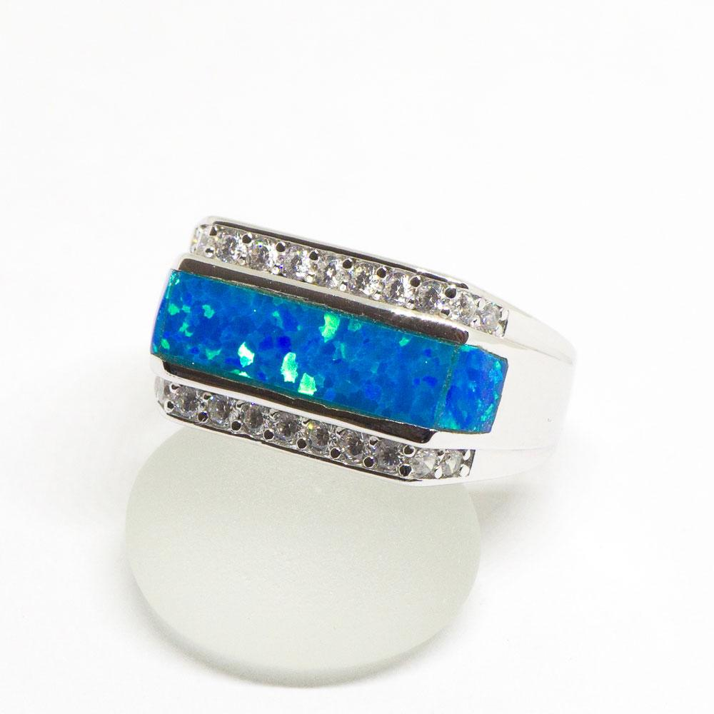 Blue Opal Sterling Silver Ring Aolani Hawaii