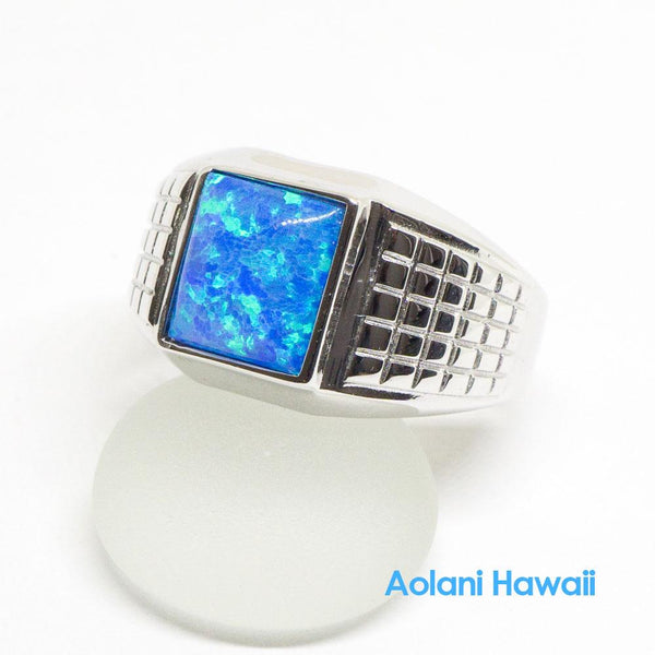 Sterling Silver Blue Opal Inlay Ring