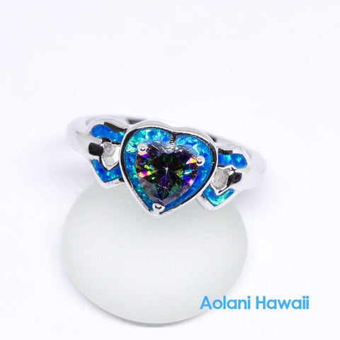 Heart Shape Mystic Topaz and Opal 925 Sterling Silver Inlay Ring