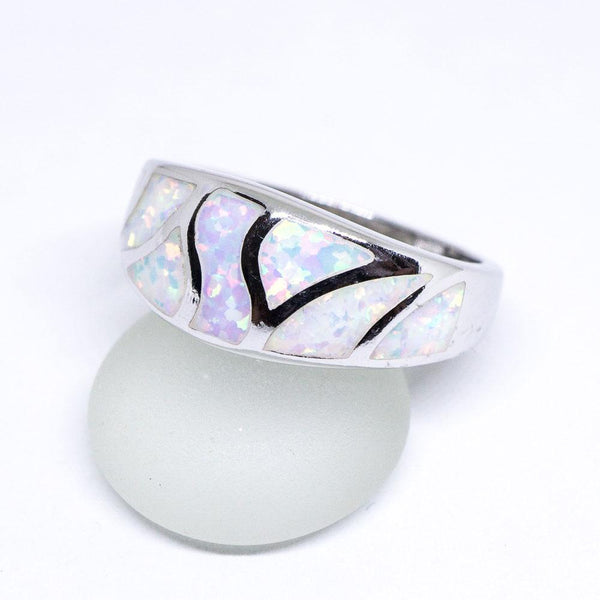 White Opal 925 Sterling Silver Inlay Ring