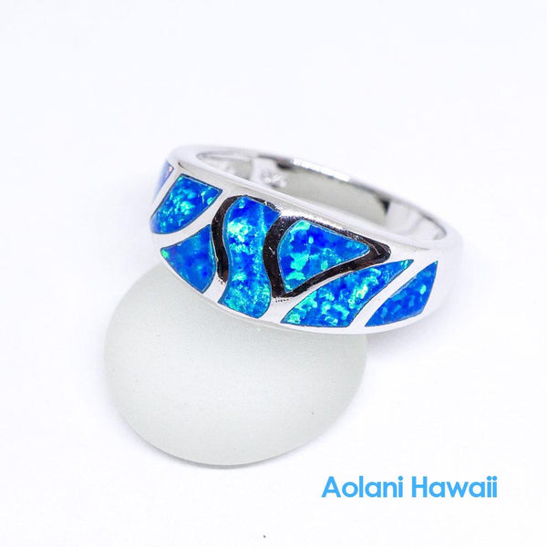 Blue Opal 925 Sterling Silver Inlay Ring