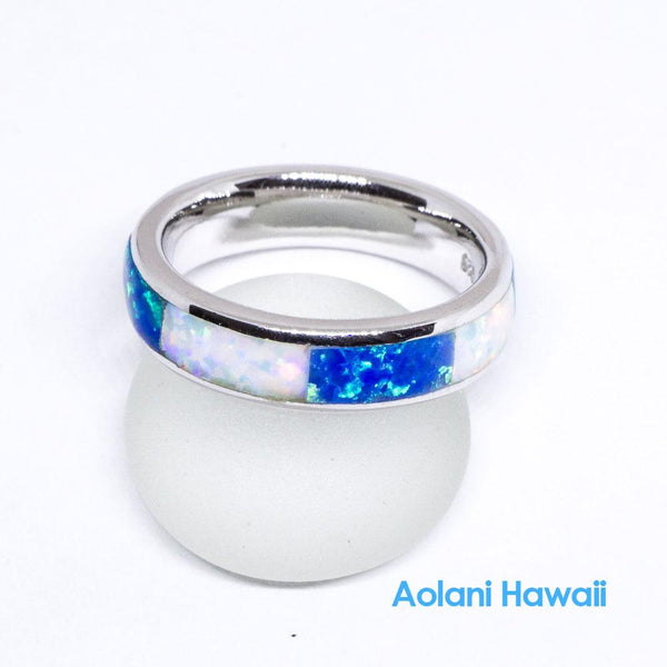 White & Blue Opal 925 Sterling Silver Inlay Ring