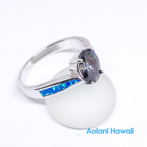 Mystic Rainbow Topaz and Opal 925 Sterling Silver Inlay Ring
