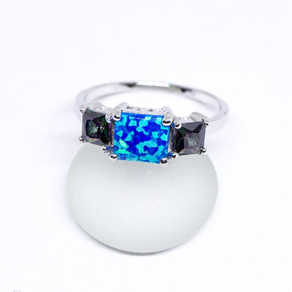 Rainbow Mystic Topaz and Opal 925 Sterling Silver Inlay Ring
