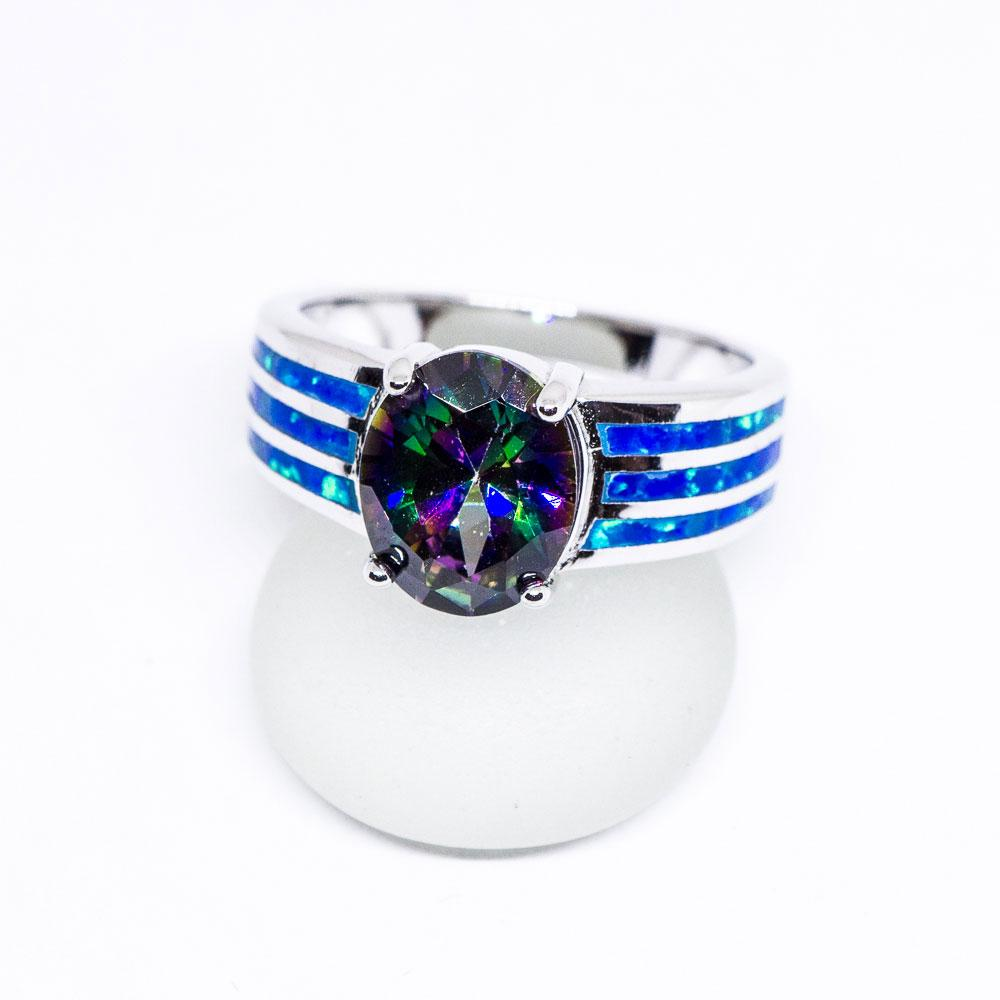 Mystic Topaz and Opal 925 Sterling Silver Inlay Ring