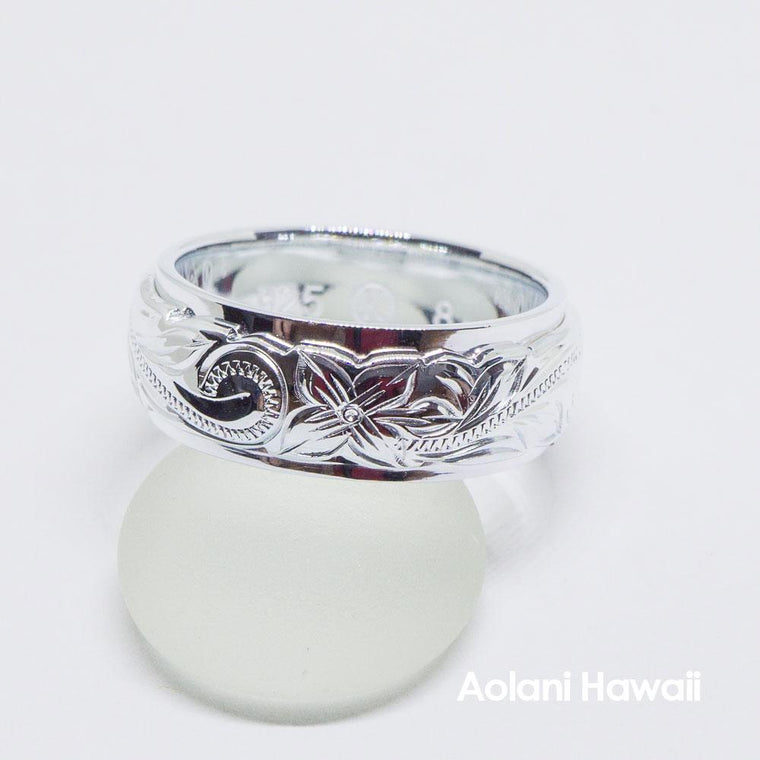 Sterling Silver Double Layered Ring Hand Engraved (8mm width, Barrel Style)