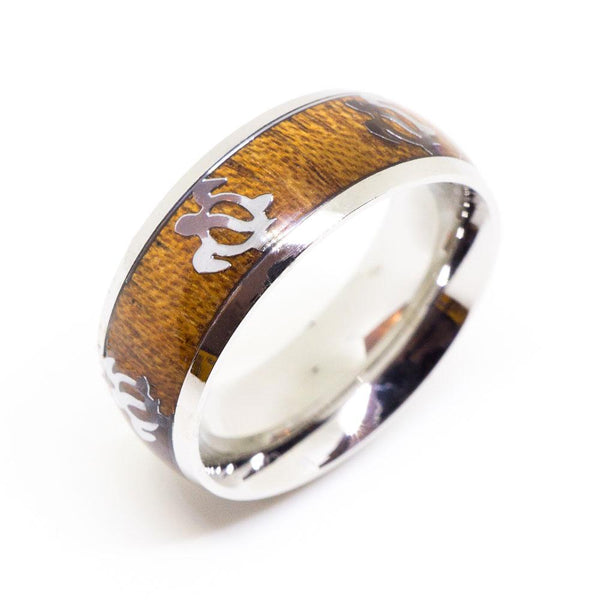 Honu Turtle Stainless Ring with Hawaiian Koa Wood (8mm width, Barrel Style)