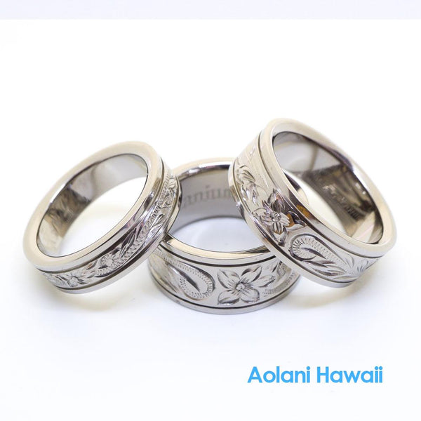 Titanium Ring with Hand engraved Hawaiian Designs (6mm - 10mm width, Flat style)