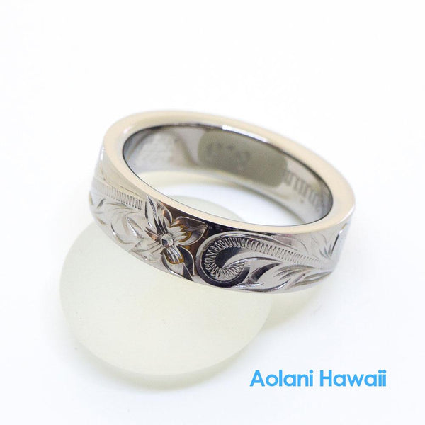 Titanium Ring with Hand engraved Hawaiian Designs (6mm width, Flat style)