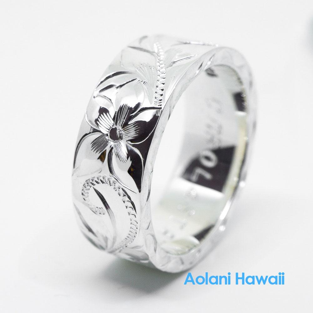 Traditional Hawaiian Hand Engraved Sterling Silver Flat Ring 4mm 12mm Width 2mm Thick: 12mm Silver Flat Wedding Band At Reisefeber.org