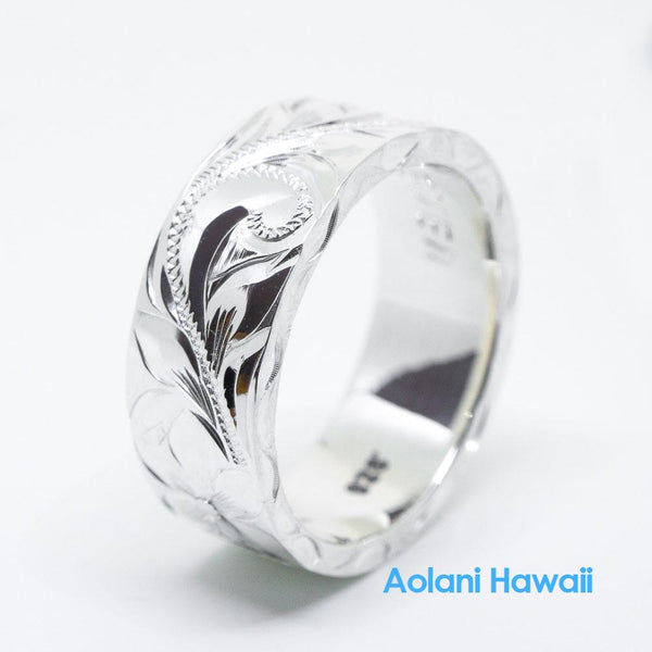 Traditional Hawaiian Hand Engraved Sterling Silver Flat Ring (4mm - 12mm width, 2mm thick Flat Style)
