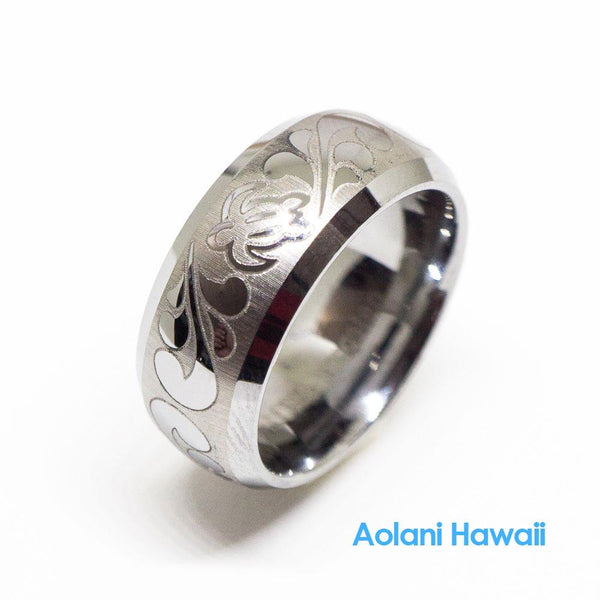 Honu Turtle Scroll Satin Finish Tungsten Ring 8mm Barrel