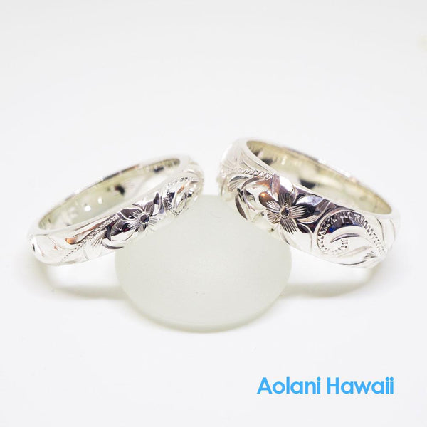 Hawaiian Ring - Hand Engraved Sterling Silver Barrel Ring (3mm-10mm width, Barrel style)