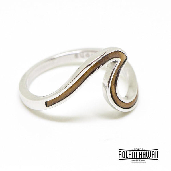 Petite Wave Sterling Silver Ring with Hawaiian Koa Wood, Opal, Mystic Stones Inlay