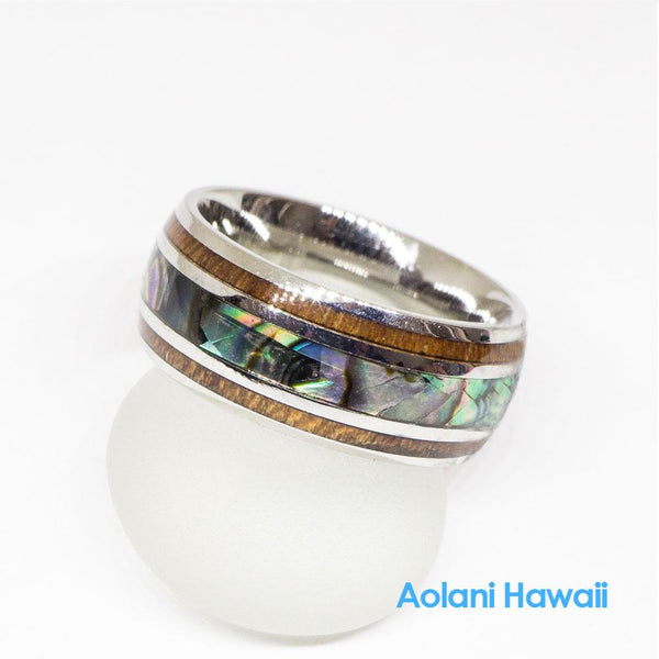 Stainless Steel Koa Wood Abalone Wedding Ring (8mm width, Barrel style)