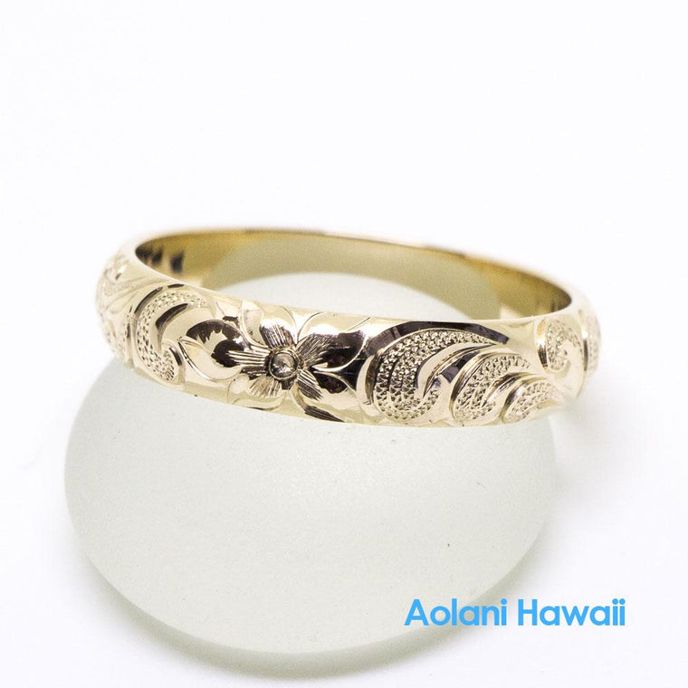 14K Gold Traditional Hawaiian Ring (4mm Width Barrel)