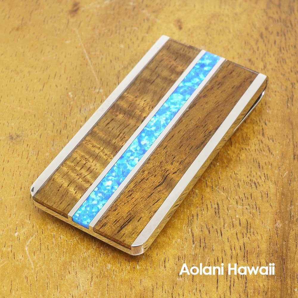 Stainless Steel Money Clip with Koa Wood and Blue Opal Inlay