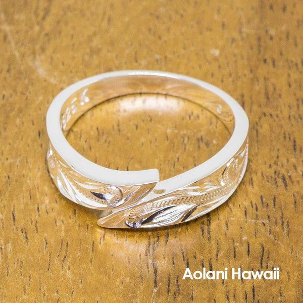 Hawaiian Jewelry Ring Sterling Silver Flat (Leave Shape, Flat style)