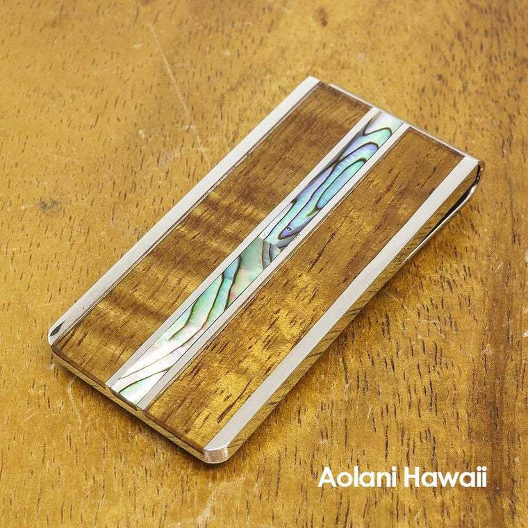 Stainless Steel Money Clip With Koa Wood and Abalone Inlay