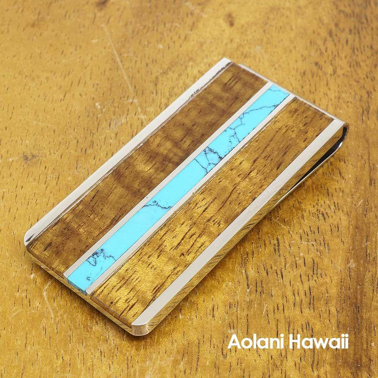 Stainless Steel Money Clip with Koa Wood and Blue Turquoise Inlay