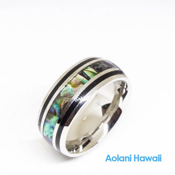 Ablone Stainless Steel Wedding Ring (8mm width, Barrel style)