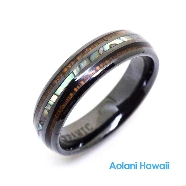 HI-Tech Ceramic Koa Wood Abalone Wedding Ring