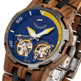 NEW - Men's Dual Wheel Automatic Ambila Wood Watch