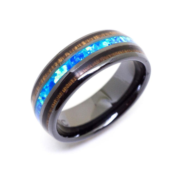Opal HI-Tech Ceramic Koa Wood Wedding Ring