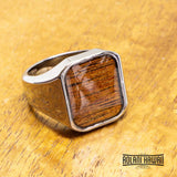 New - Square Abalone Tungsten Class Ring