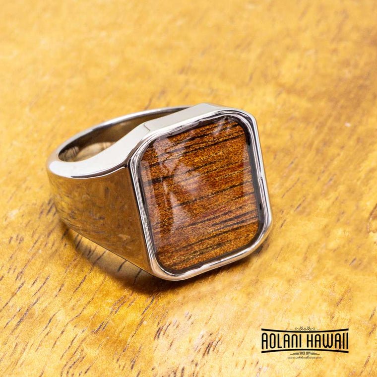 New - Square Tungsten Class Ring with Koa Wood