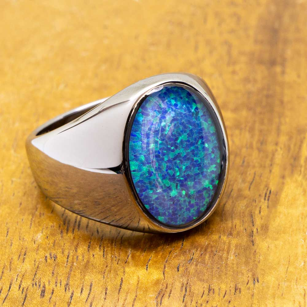 Oval Opal Tungsten Chrome Class Ring