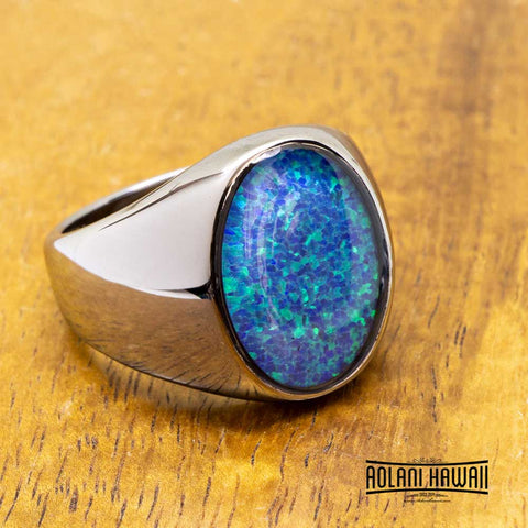 New - Oval Opal Tungsten Chrome Class Ring
