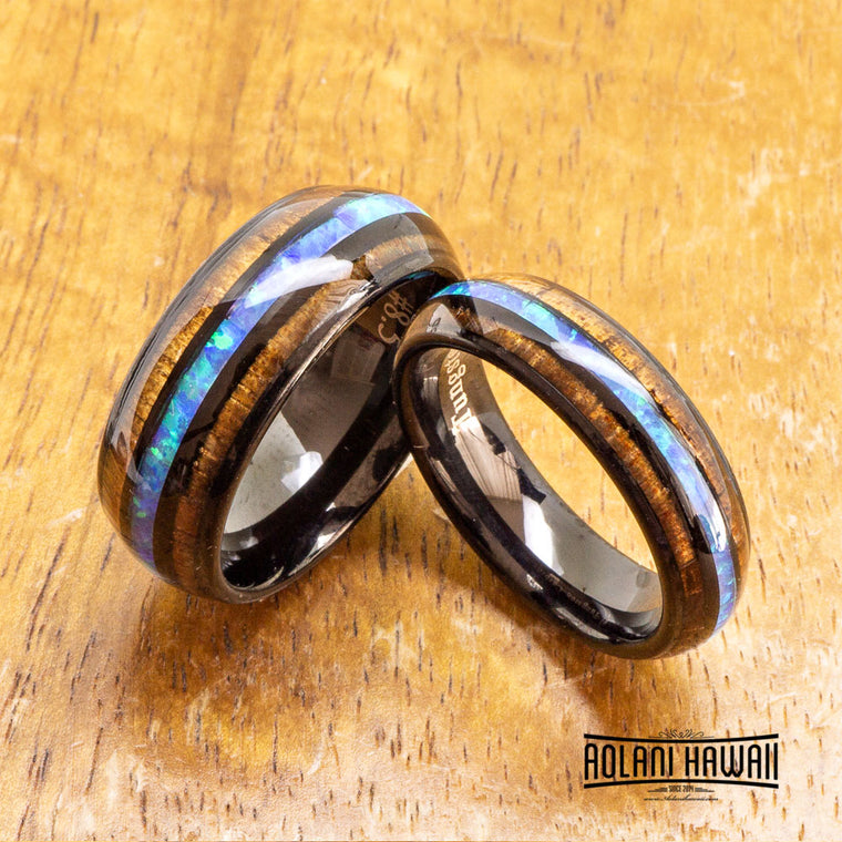 Opal Black Tungsten Ring with Koa Wood Inlay