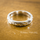 Platinum Hawaiian Ring - Hand Engraved (3mm width, Barrel style)