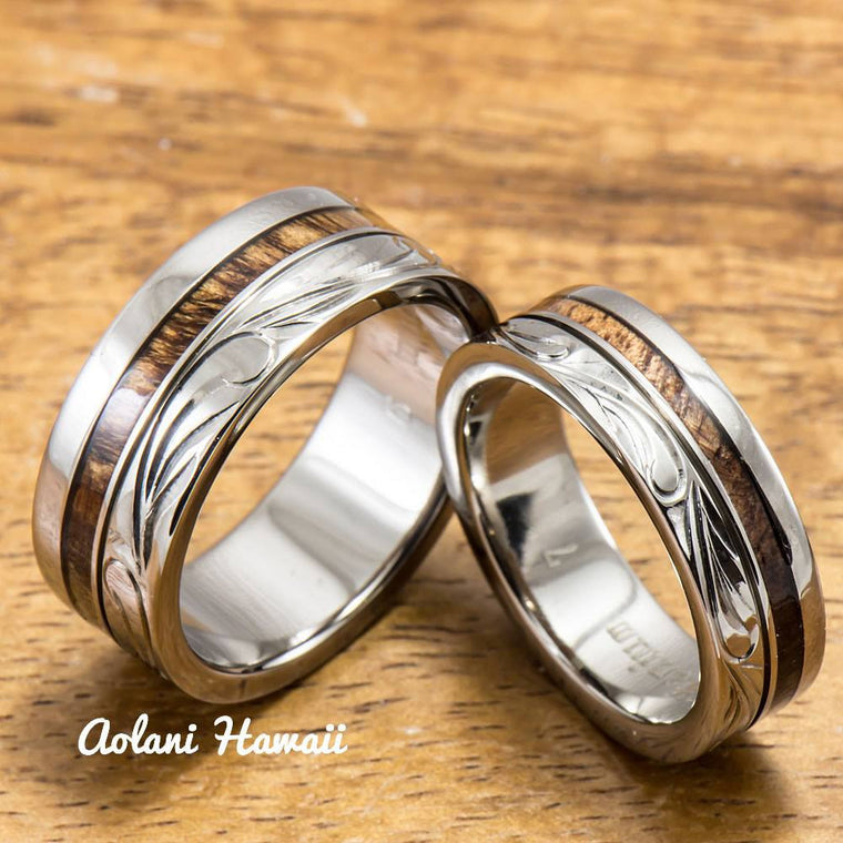 titanium wedding ring set with hawaiian koa wood inlay 6mm 8mm width flat - Hawaiian Wedding Rings